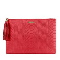 Graphic Image Uber Clutch In Embossed Python Leather Poppy Plain