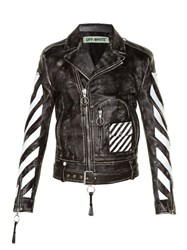 Off White Logo Print Leather Biker Jacket Black Multi