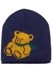 Gucci Blue Bear Intarsia Wool Beanie Navy