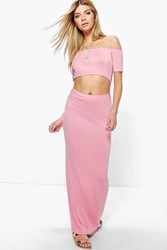 Boohoo Off Shoulder Cut Out Maxi Dress Peach