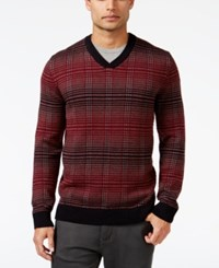 Alfani Men's V Neck Pattern Sweater Only At Macy's Tango Red Combo