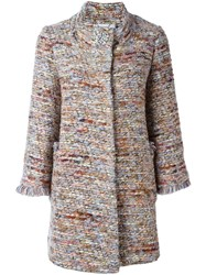 Blugirl Boxy Woven Coat Pink And Purple