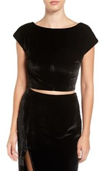 Kendall Kylie Women's Velvet Crop Top
