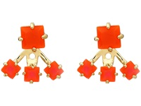 Vince Camuto Colored Square Ear Jacket Earrings Gold Neon Coral Earring