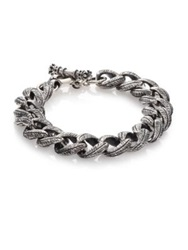 King Baby Studio Small Feather Carved Link Bracelet Silver