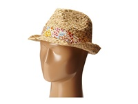 Betsey Johnson Sequin Fedora With Floral Band Natural Fedora Hats Beige