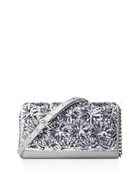 Michael Michael Kors Floral Burst Metallic Wallet On A Chain Crossbody Silver