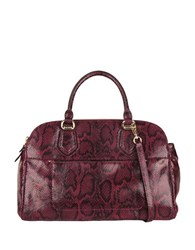 Cole Haan Tali Python Print Leather Double Zip Satchel Tawny Port