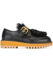 Car Shoe Eyelet Buckle Detail Loafers Black