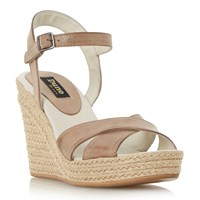 Dune Kilburn Cross Vamp Platform Shoes Tan