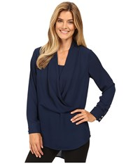 Vince Camuto Long Sleeve Wrap Front Tunic Naval Navy Women's Blouse