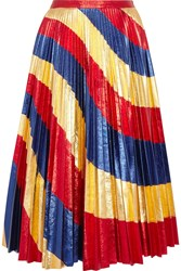 Gucci Pleated Metallic Leather Skirt Gold Blue