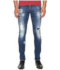 Dsquared Planked Patch Destroyed Slim Jeans Blue