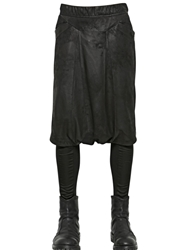 Julius Extra Low Crotch Leather Shorts Black