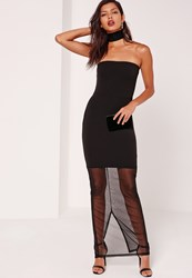Missguided Bandeau Mesh Hem Maxi Dress Black Black