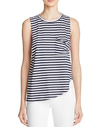 N Philanthropy Dolly Asymmetrical Striped Cotton Tank Navy White