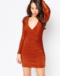 Ax Paris V Neck Ruched Dress In Slinky Rust Red