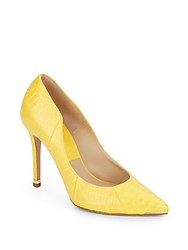 Michael Kors Avra Snake Embossed Leather Point Toe Pumps Daffodil