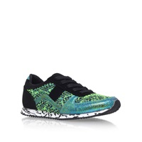 Green Combination Flat Lace Trainers By Miss Kg