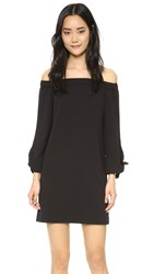 Tibi Off Shoulder Tie Dress Black