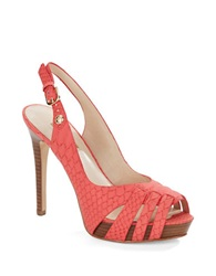 Guess Haben Embossed Peep Toe Slingback Sandals Red