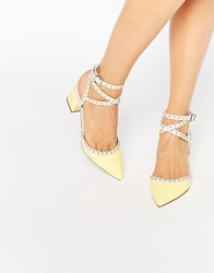 Asos Sponsor Stud Detail Pointed Heels Yellow Stone