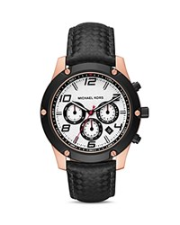 Michael Kors Caine Leather Strap Watch 45Mm Pink