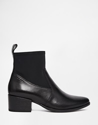 Marja Black Leather Point Ankle Boots
