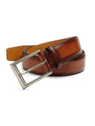 Saks Fifth Avenue Magnanni Hand Burnished Leather Belt Cognac