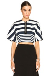 Josh Goot Cropped Top In Blue White Stripes