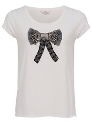 French Connection Sparkle Bow T Shirt Winter White