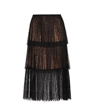 Michael Kors Pleated Lace Skirt Black