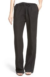 Women's Caslon Drawstring Linen Pants Black