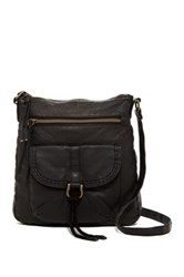 T Shirt And Jeans Pocketed Faux Leather Small Crossbody Black