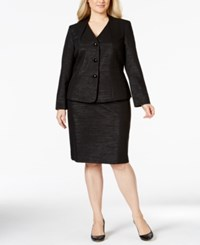 Le Suit Plus Size Metallic Stripe Jacket Skirt Suit Black
