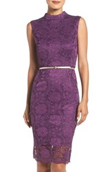 Ellen Tracy Women's Lace Midi Dress Plum