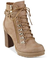 G By Guess Grazzy Lace Up Booties Women's Shoes Dark Natural