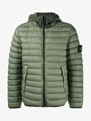 Stone Island Quilted Feather Down Jacket Olive Stone Off White