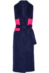 Msgm Belted Two Tone Mohair Blend Gilet Midnight Blue