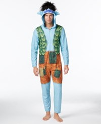 Briefly Stated Men's Trolls Hooded Jumpsuit Pajamas By Dreamworks Trolls Blue Grey