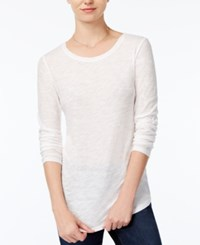 Maison Jules Long Sleeve Crew Neck Top Only At Macy's Bright White