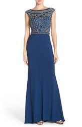 Women's Sean Collection Beaded Cutout Back Cap Sleeve Gown