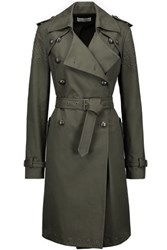 Rebecca Minkoff Amis Eyelet Embellished Cotton Blend Twill Trench Coat Army Green