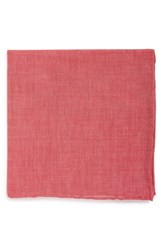 Men's The Tie Bar Chambray Cotton Pocket Square Red