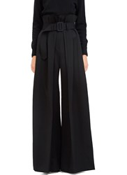 Yang Li Torn High Waisted Long Pleated Palazzo Pants Black