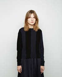 Sacai Luck Striped Rib Pullover Black
