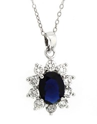 Lord And Taylor Sterling Silver Cubic Zirconia Flower Pendant Necklace Black