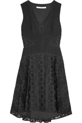 Diane Von Furstenberg Fiorenza Cady Trimmed Crochet Lace Dress Black