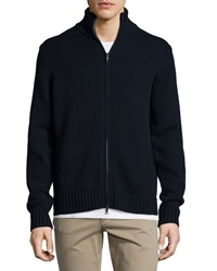 Vince Full Zip Wool Cashmere Cardigan Navy