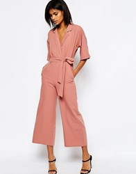 Asos Jumpsuit With Kimono Sleeve Cosmetic Pink Brown